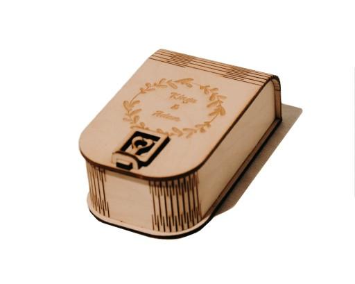 Drewniane pudełko na USB + GRAWER + WYPEŁNIENIE