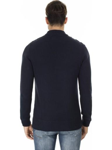 JACK&JONES GRANATOWY SWETER RÓŻNE ŚCIEGI (S) 9842344024 Odzież Męska Swetry DE XEESDE-3