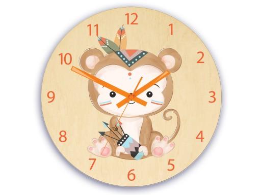 Zegar ścienny dla dziecka MAŁPKA INDIANIN 30cm