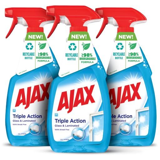 AJAX TRIPLE ACTION płyn do szyb spray 3x500ml