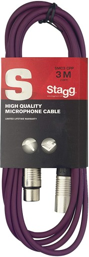 STAGG SMC3 kabel mikrofonowy XLR/XLR 3m Fioletowy