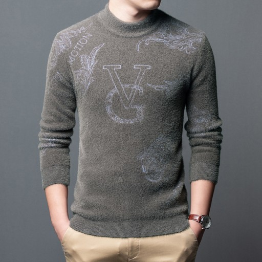 Męski sweter z pÓłgolfem z polaru z norek 9998895490 Odzież Męska Swetry AK SIMPAK-9