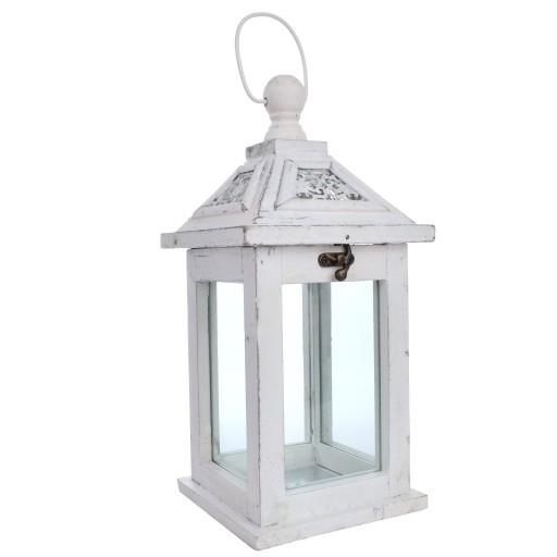 LAMPION DREWNIANY Latarnia ŚWIECZNIK Biały 1095