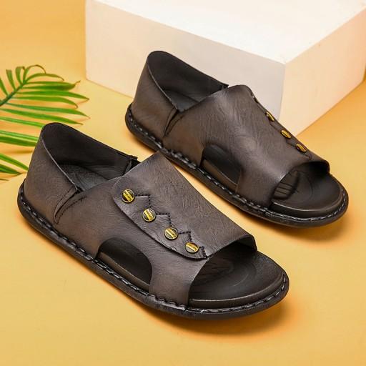 Sandały modne buty kapcie robocze męskie skorzane 10567491757 Obuwie Męskie Męskie PP LQAIPP-6