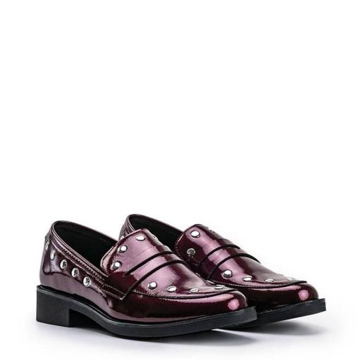 Bordowe półbuty damskie mokasyny buty C18-6297 38