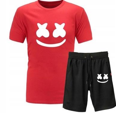 Męski Letni Komplet Marshmello Spodenki + T-shirt 10686782829 Odzież Męska Komplety JS DURKJS-8