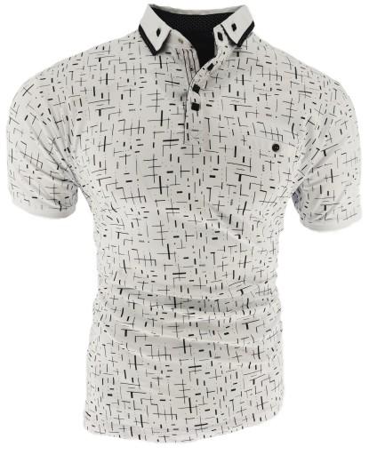 Koszulka Męska POLO MĘSKIE BIAŁA KRESKI L 10709005625 Odzież Męska T-shirty BM MRFGBM-1