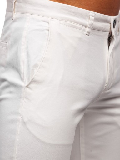 SPODNIE CHINOSY MĘSKIE BIAŁE 1143 DENLEY_32 9362710857 Odzież Męska Spodnie YB PSNAYB-1