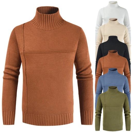 rzyżowym przeszyciem. Sweter męski Dzianina męska 9814379775 Odzież Męska Swetry SE HCUPSE-6
