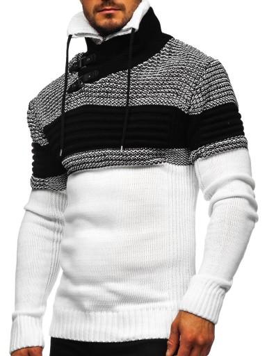 GRUBY SWETER MĘSKI ZE STÓJKĄ BIAŁY 2002 DENLEY_2XL 9826535840 Odzież Męska Swetry XU SBKBXU-4