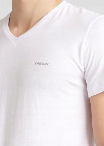 DIESEL Klasyczna Biała Koszulka Serek Logo _ L 10578646589 Odzież Męska T-shirty QE AWPQQE-1