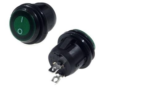Włącznik okrągły zielony podświet 6A/250VAC