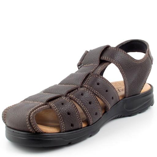 MORXIVA 37006 brązowe sandały na rzepy rozm 45 9510808383 Obuwie Męskie Męskie ZN XBRVZN-2