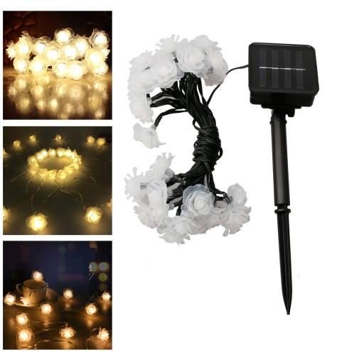 Girlandy Lampki Rose Ogrodowe Solarne 50 LED 7m