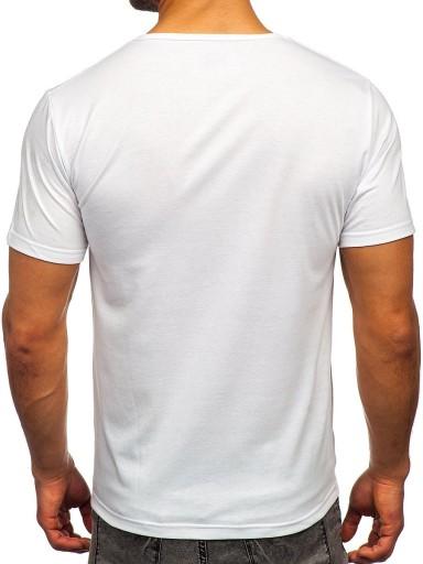 T-SHIRT MĘSKI Z NADRUKIEM BIAŁY KS2625 DENLEY_L 10501927758 Odzież Męska T-shirty HV GTKEHV-7