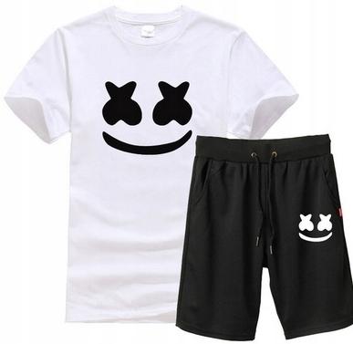 Męski Letni Komplet Marshmello Spodenki + T-shirt 10714599279 Odzież Męska Komplety ZY FBSWZY-4