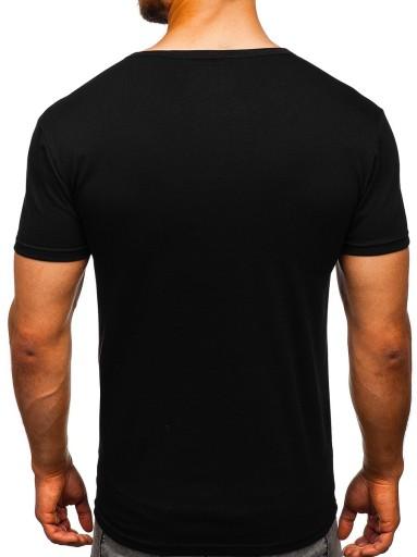 T-SHIRT MĘSKI Z NADRUKIEM CZARNY 10810 DENLEY_M 10145808536 Odzież Męska T-shirty EK KNVREK-3