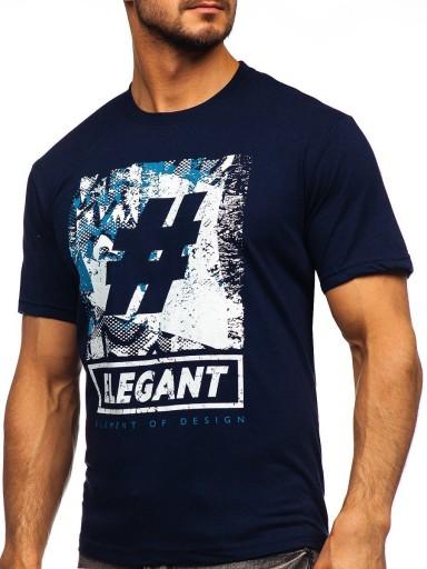 T-SHIRT Z NADRUKIEM GRANATOWY 14456 DENLEY_2XL 10564700880 Odzież Męska T-shirty OA IEKFOA-1
