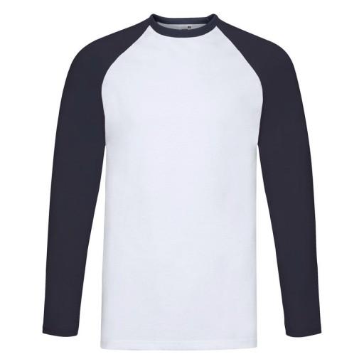 Koszulka męska dł.rękaw BASEBALL biały/granat S 9323922176 Odzież Męska Koszulki z długim rękawem LD OHOTLD-7