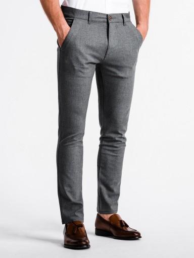 Eleganckie spodnie męskie chinos P832 szare XL 10002047762 Odzież Męska Spodnie KN XKUDKN-6