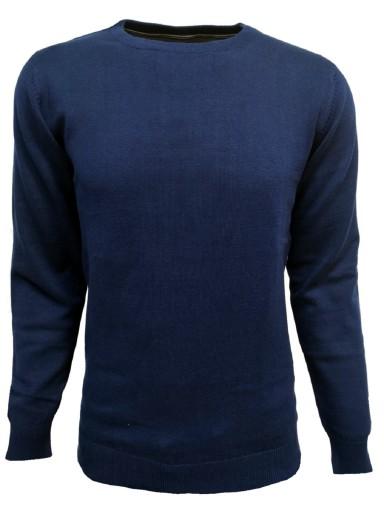 SWETER męski Sweterek GRANATOWY klasyczny L 8771063655 Odzież Męska Swetry OC ZYNDOC-1