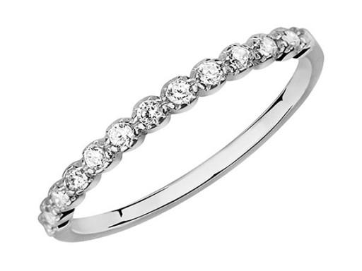Srebrny RODOWANY pierścionek BIAŁA CYRKONIA r. 10