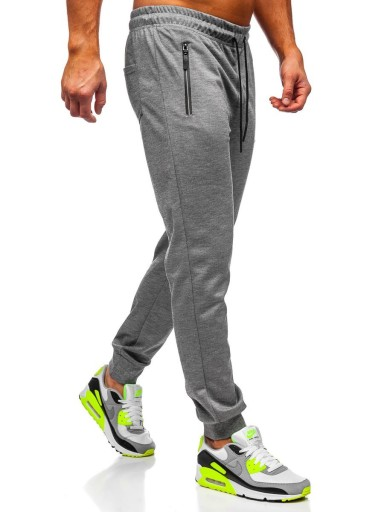 SPODNIE DRESOWE MĘSKIE SZARE JX8203 DENLEY_2XL 9243753001 Odzież Męska Spodnie BY ORKZBY-7