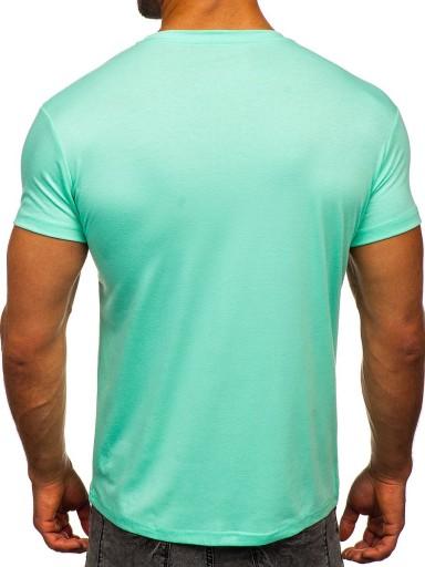 T-SHIRT MĘSKI KOSZULKA MIĘTOWA 2005 DENLEY_L 10719636335 Odzież Męska T-shirty YW OOGCYW-2