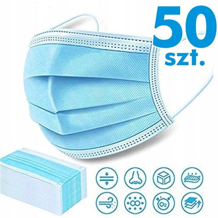 -50% 24 50x Маска маска защитная 3 слоя 95% доставка из Польши Allegro на русском