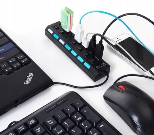 АКТИВНЫЙ HUB USB 2.0 3.0 КОНЦЕНТРАТОР НА 7 ПОРТОВ доставка из Польши Allegro на русском