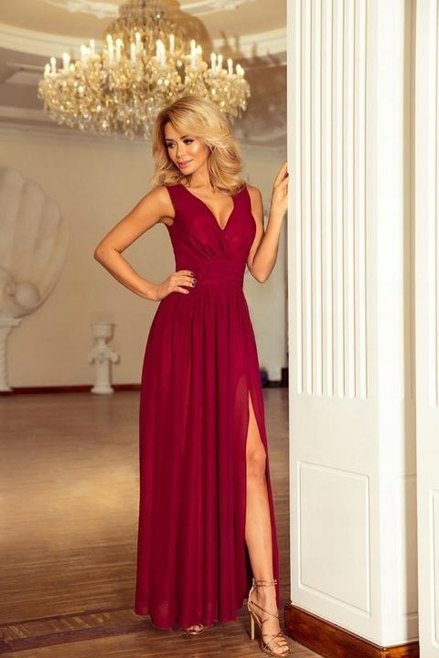 166-5 MAXI szyfonowa długa suknia BORDO 40 L 9726131475 Odzież Damska Sukienki wieczorowe TL ZWYYTL-4