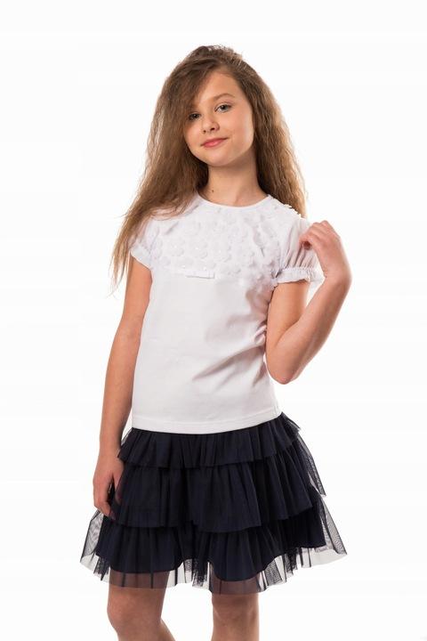 Bluzeczka z kwiatuszkami 3D - krÓtki rękaw 122 8241281456 Dziecięce Odzież JC IIQTJC-4