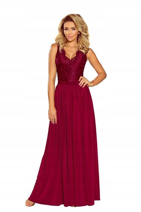 211-2 LEA długa suknia koronka dekolt BORDO 42 XL 7877929094 Odzież Damska Sukienki wieczorowe ZZ XZFCZZ-9