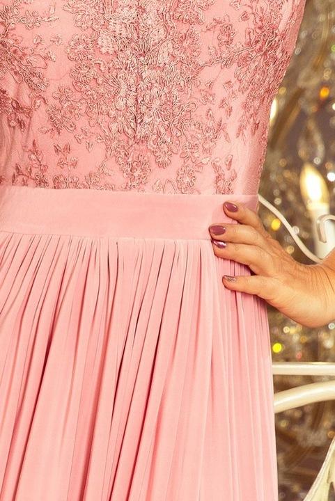 215-4 LEA długa suknia haft dekolt RÓŻOWY 42 XL 9836117915 Odzież Damska Sukienki wieczorowe PO TQGAPO-1