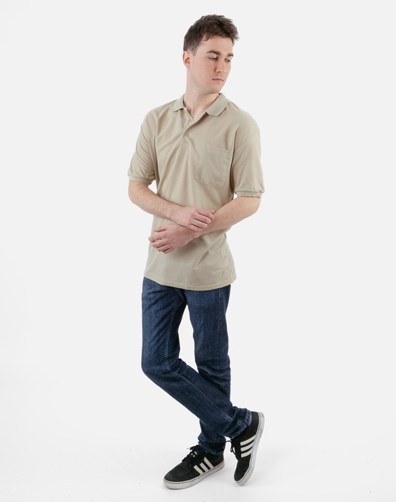 Koszulka Polo Męska PolÓwka 18309 r 4XL beżowa 7947588667 Odzież Męska Koszulki polo NE VNUJNE-9
