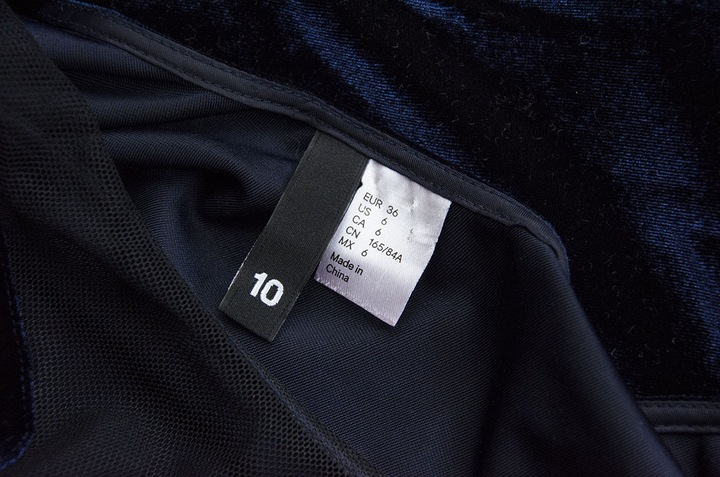 H&M mini sukienka welurowa granatowa ażurowa S 9812154958 Odzież Damska Sukienki NP SVCUNP-9