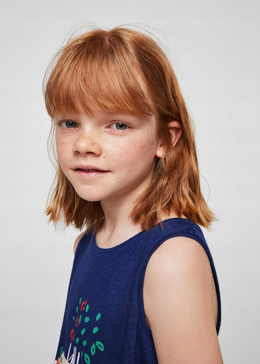 MANGO Wzorzysta koszulka z kokardą 122 6-7 9906350725 Dziecięce Odzież YD UOHDYD-2