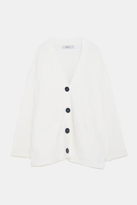 ZARA- kremowy sweter kardigan oversize - S/M/L 7876447592 Odzież Damska Swetry MO MSAOMO-4