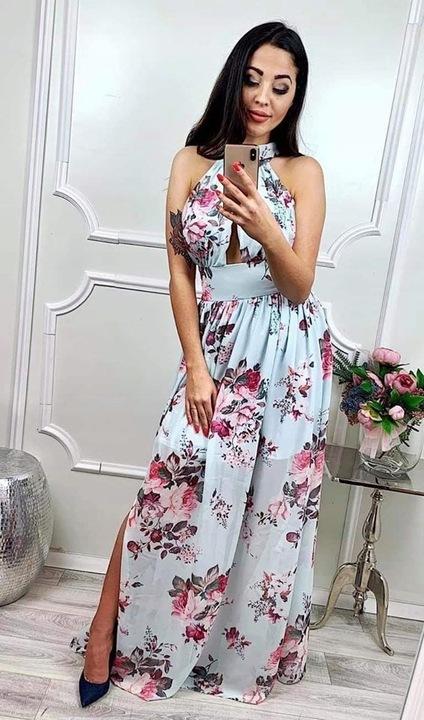 JASMINA BŁĘKITNA SUKIENKA KWIATY XS 8205453617 Odzież Damska Sukienki wieczorowe AE RRKHAE-2
