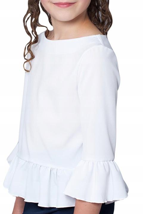 Biała Bluzka Dla Dziewczynki Z Falbanką SZKOŁA 134 8209340823 Dziecięce Odzież MO GGIXMO-5