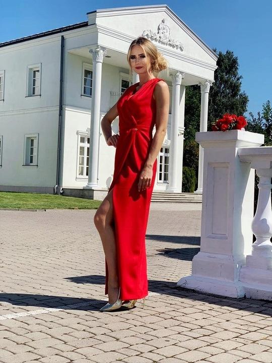 Rita CZERWONA DŁUGA SUKIENKA z ROZCIĘCIEM XS 8473342866 Odzież Damska Sukienki wieczorowe KU YUZFKU-6
