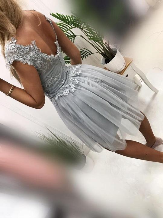 Tosia GRANATOWA ROZKLOSZOWANA z tiulem M 9811470973 Odzież Damska Sukienki wieczorowe JW DZGLJW-2