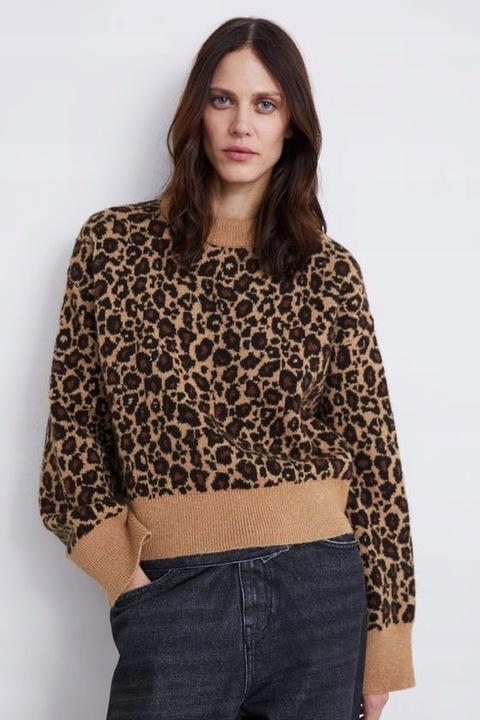 ZARA- ciepły sweter w panterkę - M 8693260919 Odzież Damska Swetry WR NHZEWR-2