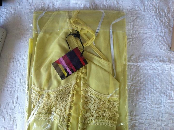 ASOS JARLO sukienka XXS 32 szyfon haft NOWA żÓłta 9812306522 Odzież Damska Sukienki wieczorowe VN CCZVVN-6