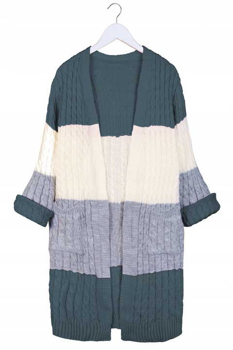 Efektowny KOBIECY KARDIGAN Sweter Miękki Kieszenie 8629345463 Odzież Damska Swetry GQ YAJKGQ-4