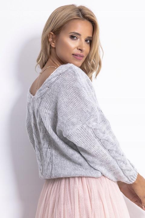 Sweter CIEPŁY KOBIECY Dekolt SEREK PIĘKNY F778 UNI 8522397225 Odzież Damska Swetry DU CAAQDU-8