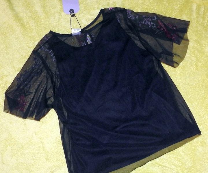 ZARA śliczna czarna haftowana bluzeczka r.164 NOWA 9193284407 Dziecięce Odzież SB PDUOSB-8