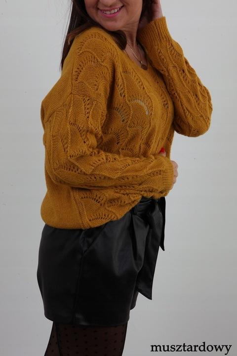 MODNY LEKKI SWETEREK AŻUR AŻUROWY SZPIC KOLORY 8648265702 Odzież Damska Swetry RS RWEERS-9