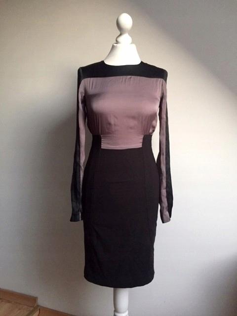 WAREHOUSE sukienka ołÓwkowa fioletowa święta 36 S 8753441589 Odzież Damska Sukienki IG QEKIIG-3