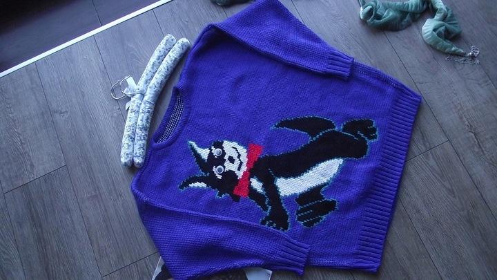 *XXX SWETEREK CHABROWY Z KOTKIEM UNIWERSALNY 9847201334 Odzież Damska Swetry FQ JATAFQ-9